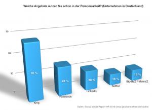 Chart aus Daten des Social Media Report HR 2010
