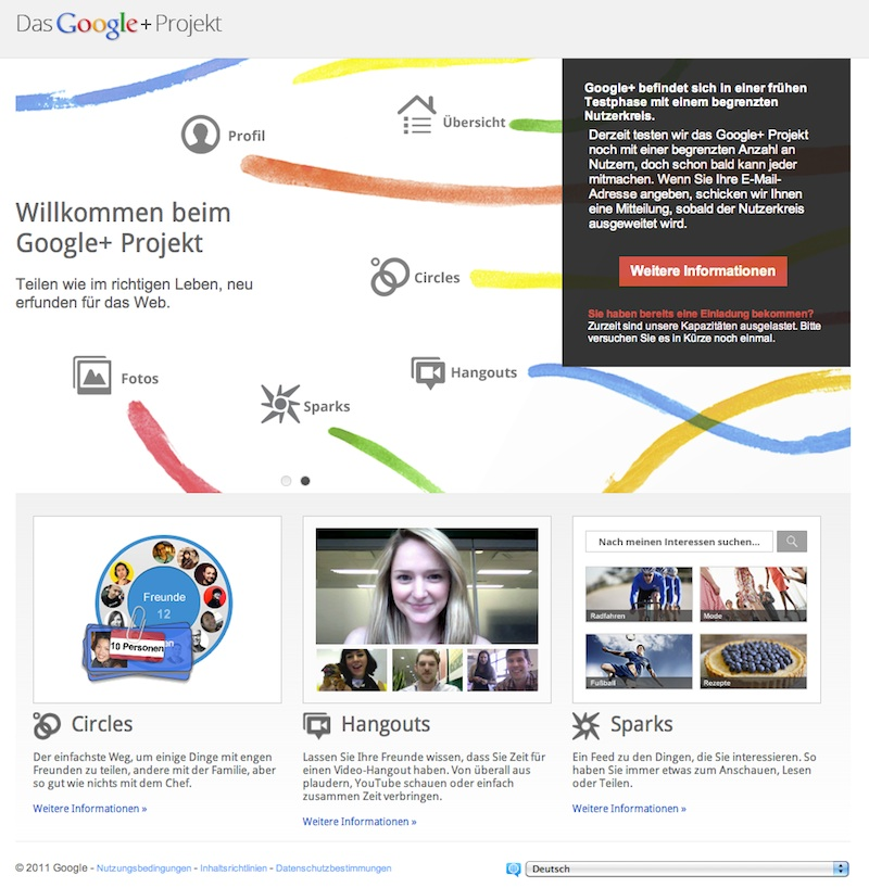 Microsite Google+ (Screenshot)
