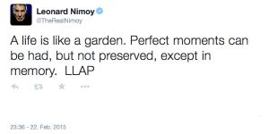 Letzter Twitter Post von Leonard Nimoy