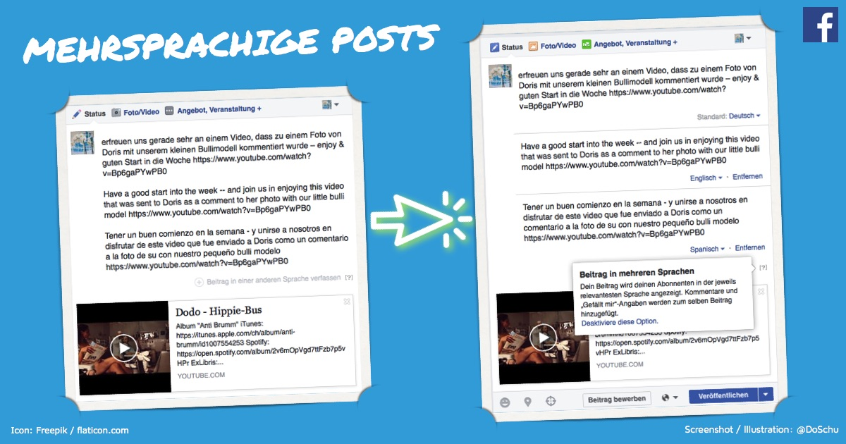 Facebook Posts mehrsprachig