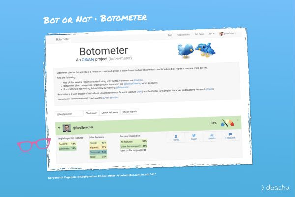 Botometer Screenshot Beispiel Check