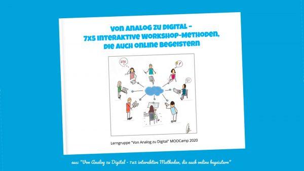 """Titelseite eBook """"Von Analog zu Digital - 7x5 interaktive Workshop-Methoden, die auch online begeistern"""""""