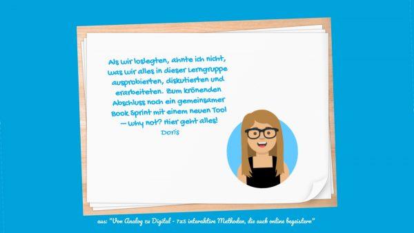 """Zitat DoSchu zum Buchprojekt im Buch """"Von Analog zu Digital"""""""